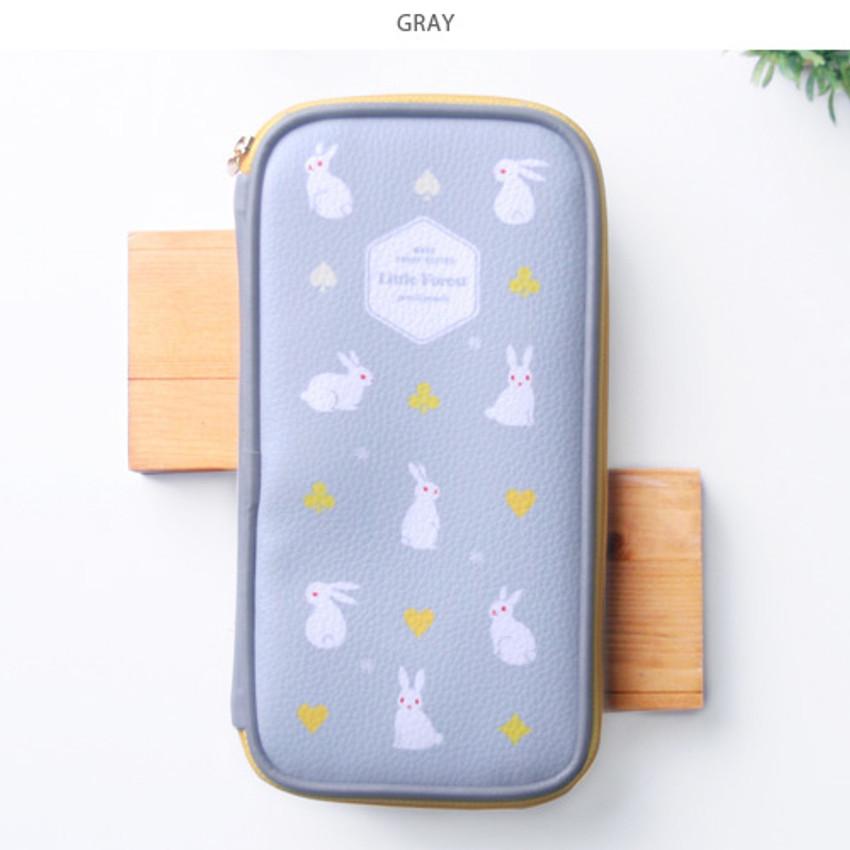 Gray - Little forest zip around pencil pouch