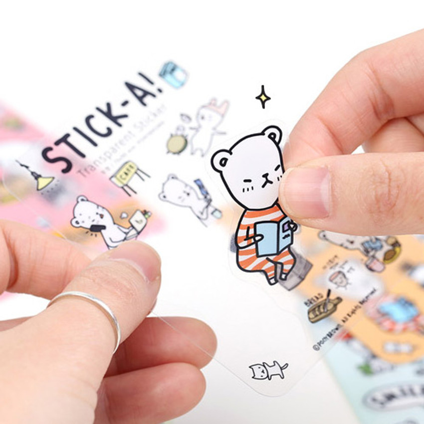 Detail of Buhabear transparent sticker