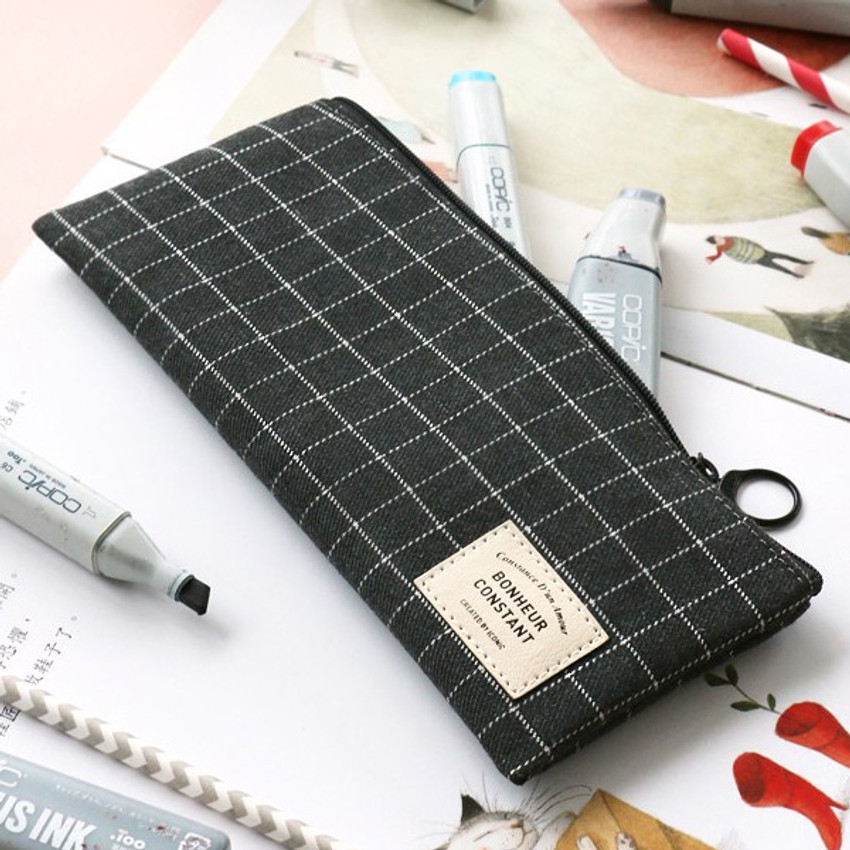 Grid - Basic coated cotton zipper pen pencil case