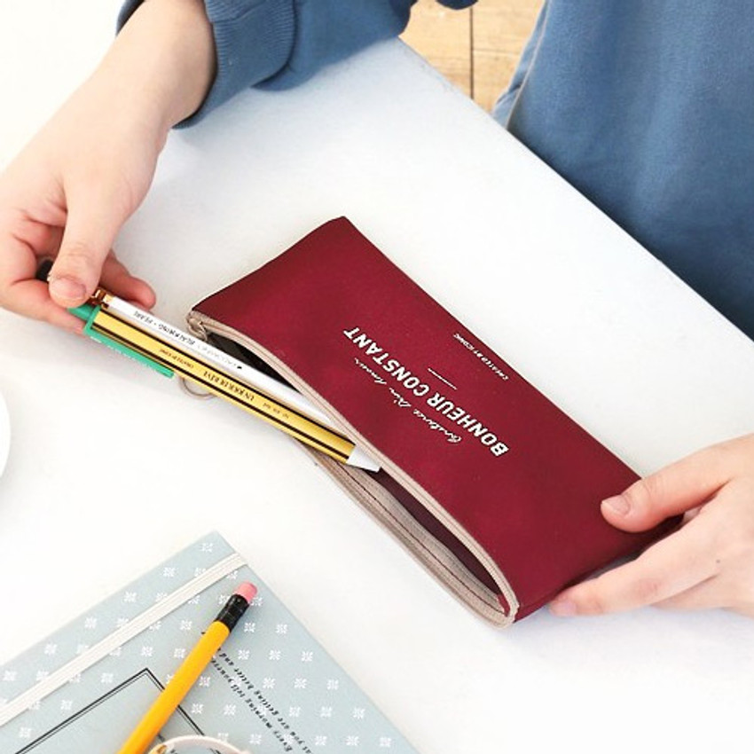 Burgundy - Basic coated cotton zipper pen pencil case