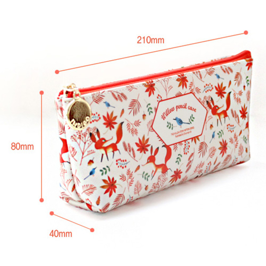 Size of Willow story pattern big zipper pencil case