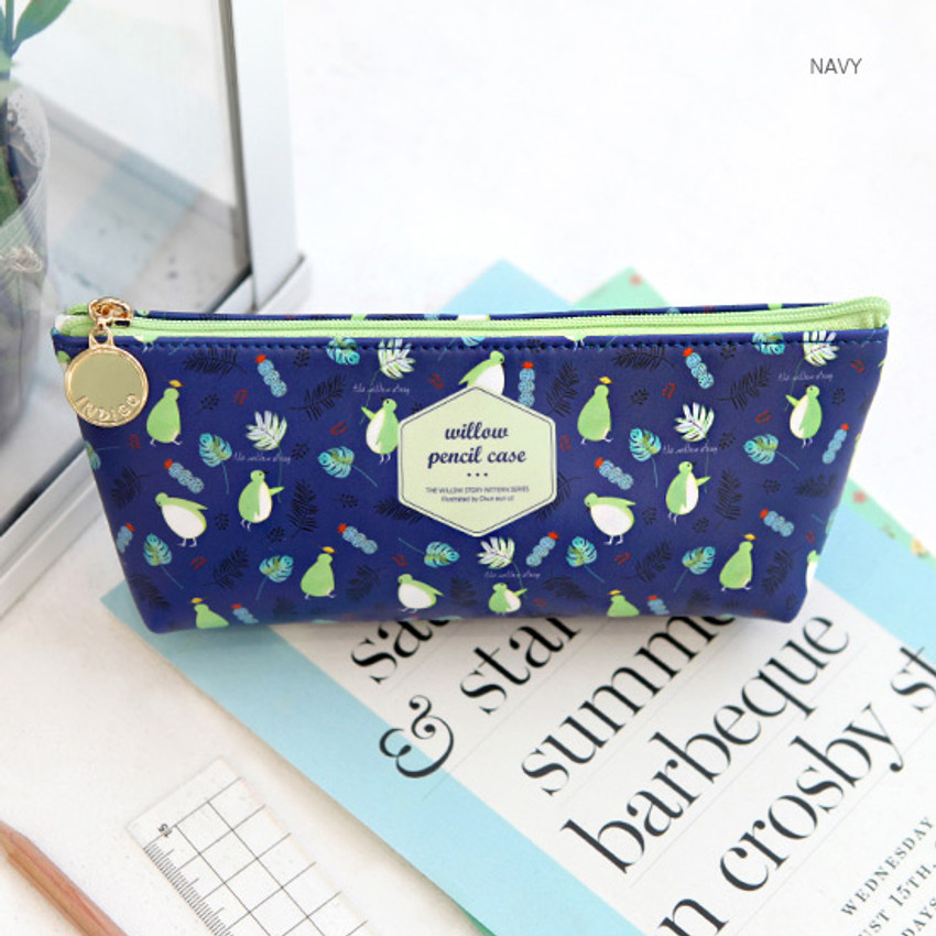 Navy - Willow story pattern big zipper pencil case