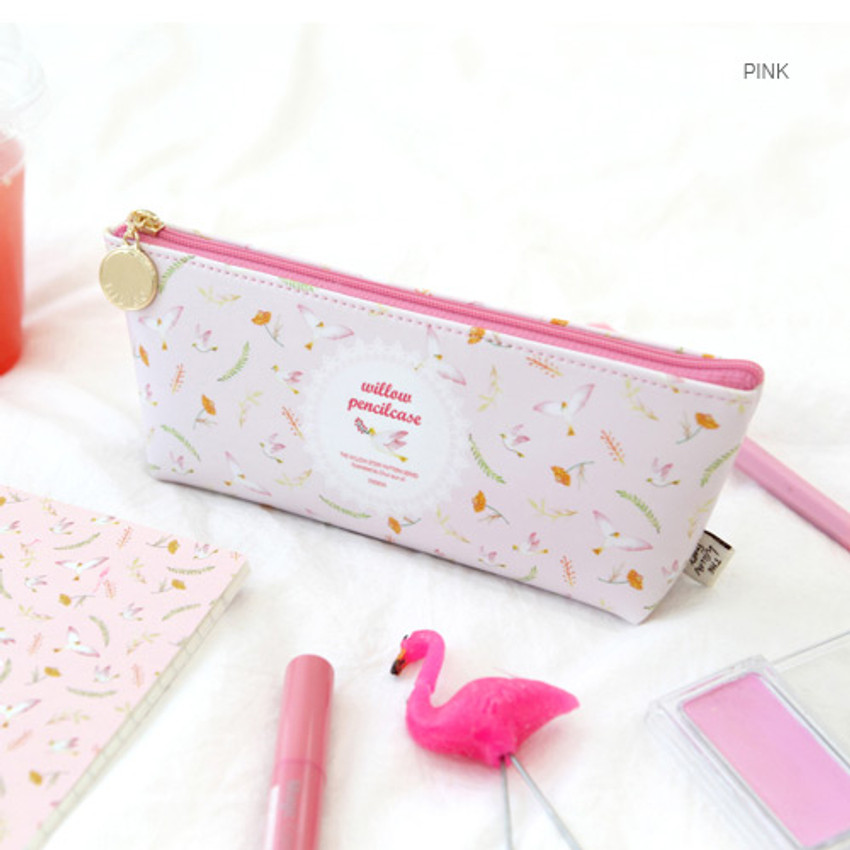 Pink - Willow story pattern big zipper pencil case