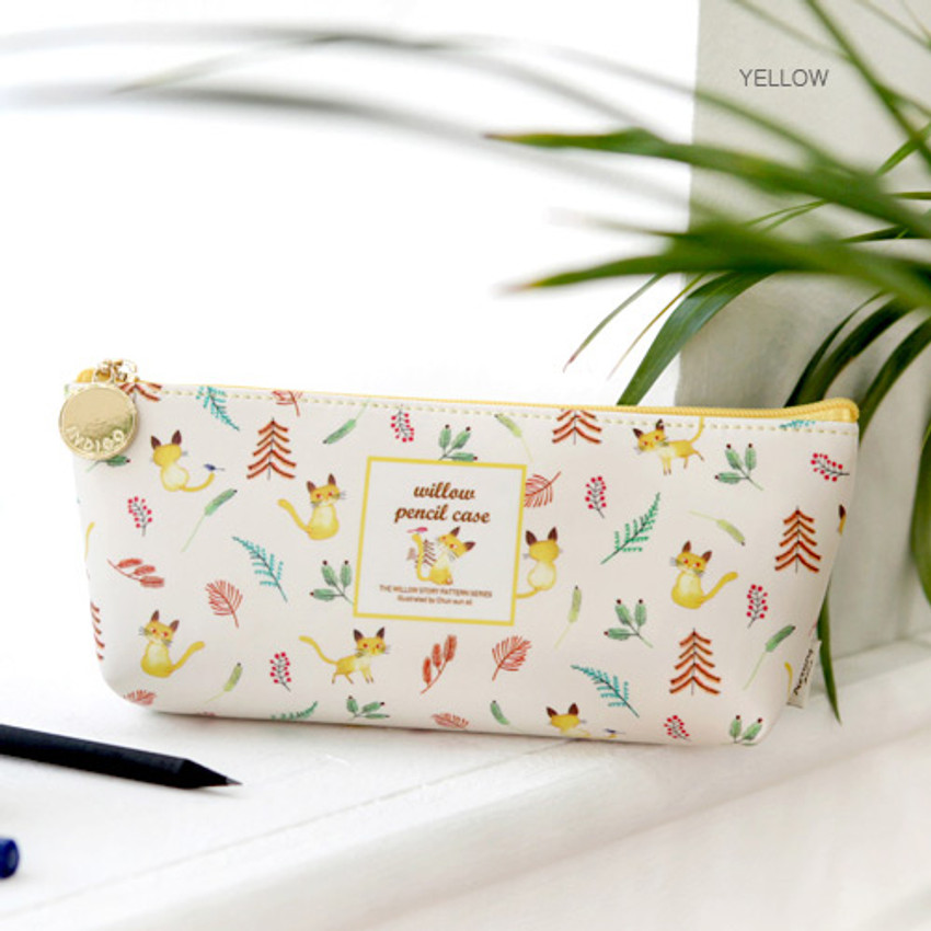 Yellow - Willow story pattern big zipper pencil case