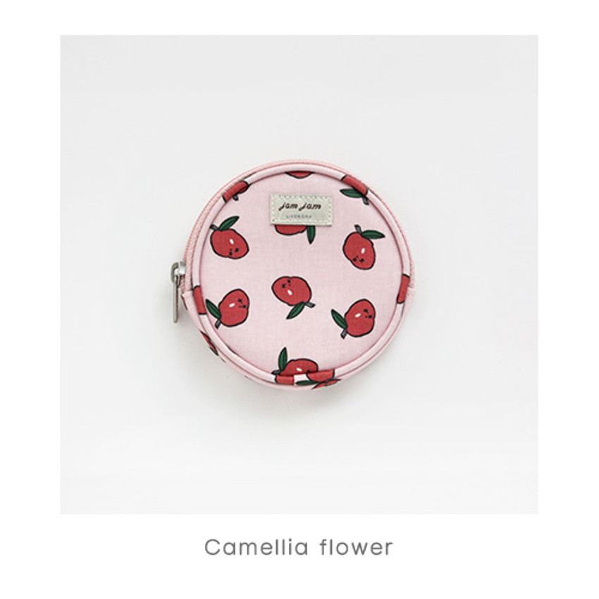 Camellia flower - Jam Jam pattern circle zipper pouch