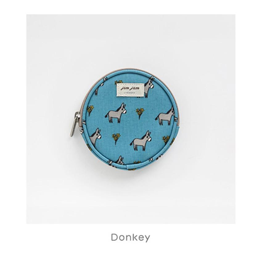Donkey - Jam Jam pattern circle zipper pouch
