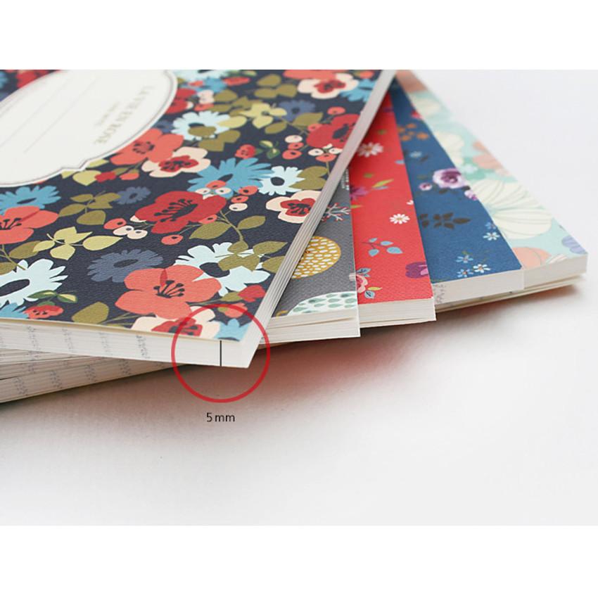 Detail of La vie en rose B5 size lined notebook