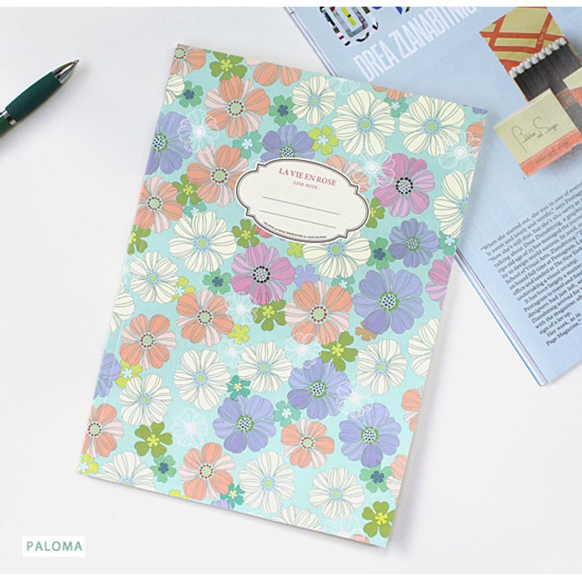 Paloma - La vie en rose B5 size lined notebook