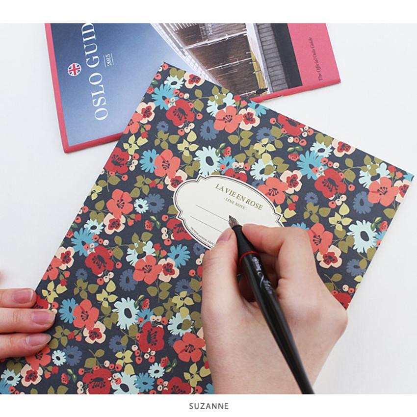 Suzanne - La vie en rose B5 size lined notebook