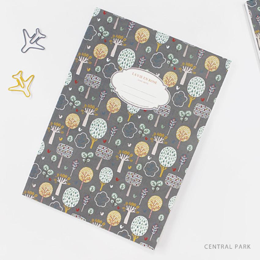 Central park - La vie en rose B5 size lined notebook
