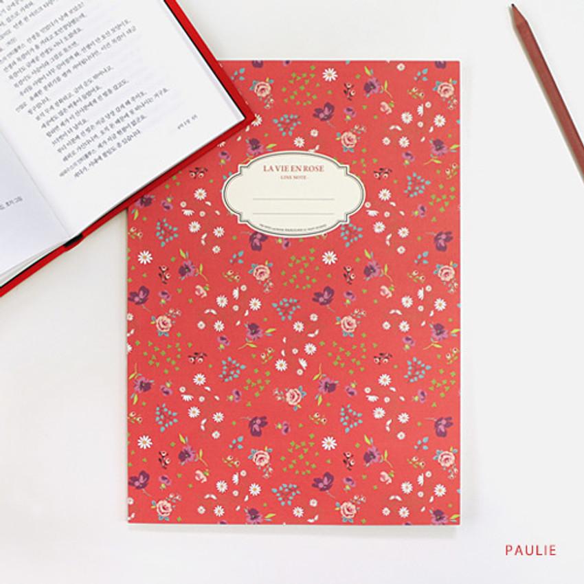 Paulie - La vie en rose B5 size lined notebook