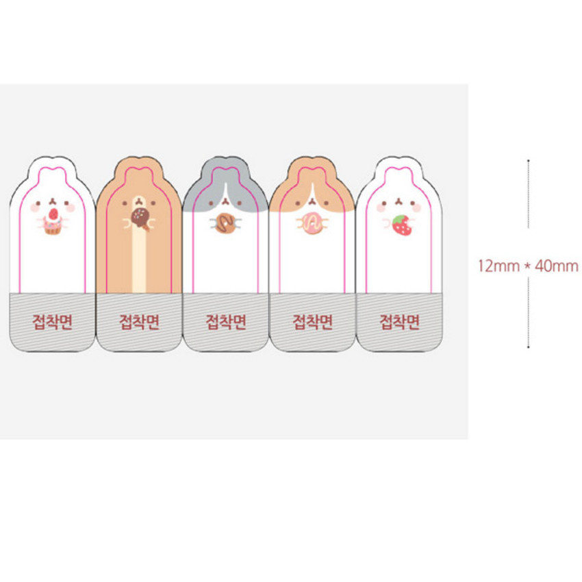Size of Molang sticky memo notes bookmark