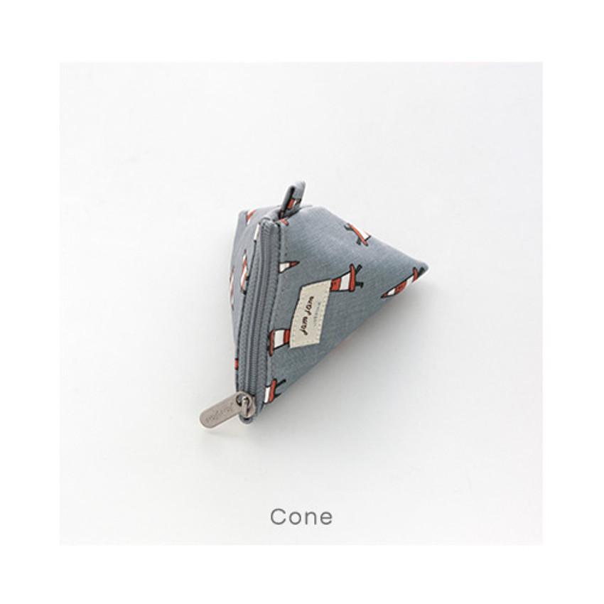 Cone - Jam Jam pattern triangle zipper pouch