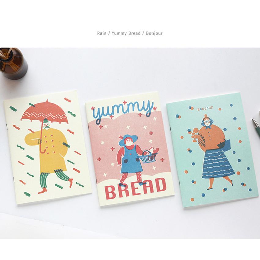Rain, Yummy bread, Bonjour