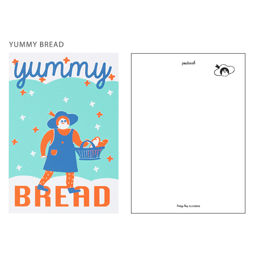 Yummy bread - Breezy day silk screen postcard