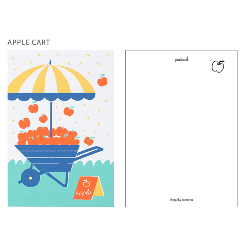 Apple cart - Breezy day silk screen postcard