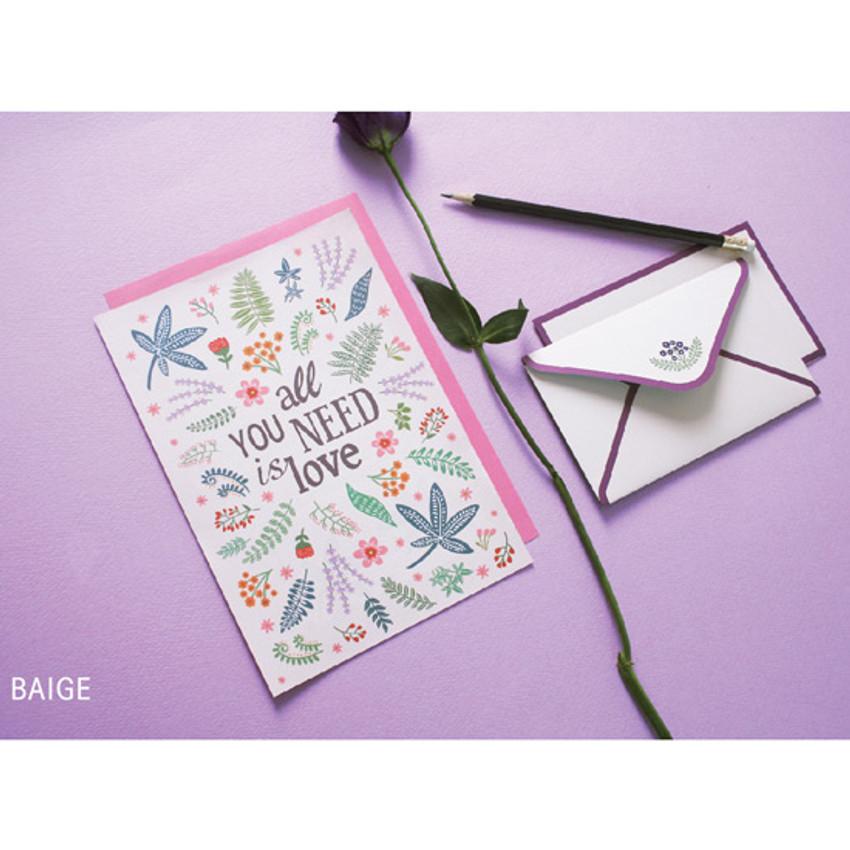 Beige - illustration pattern letter paper and envelope set