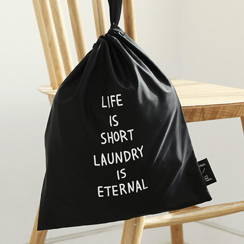 Black - Cotton laundry drawstring pouch