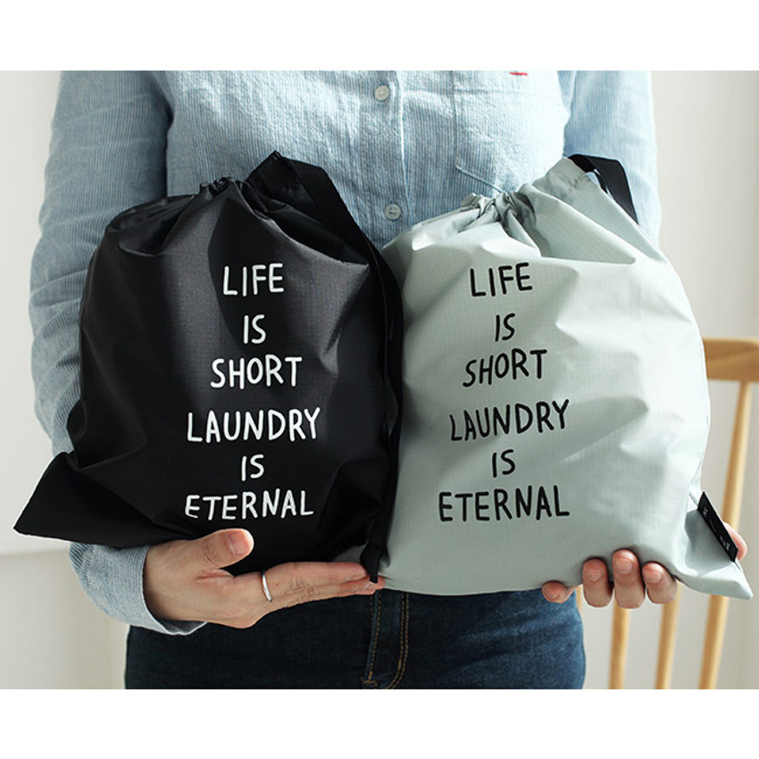 Cotton laundry drawstring pouch
