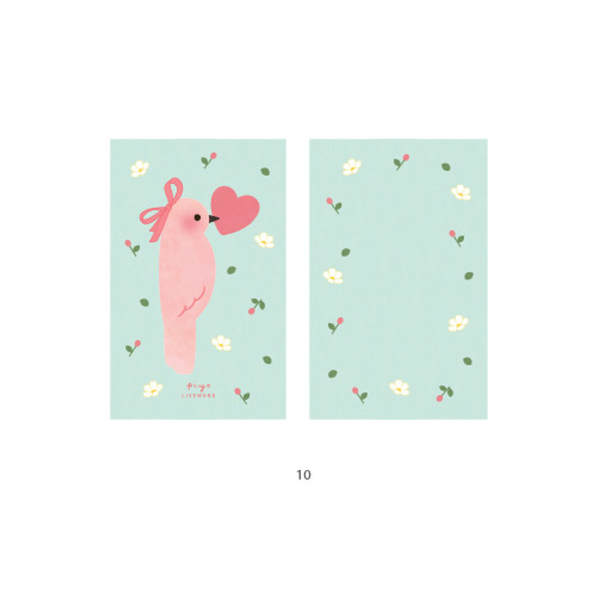 10 - Cute illustration message card set