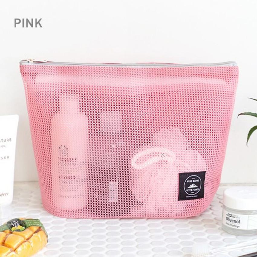 Pink - Window blows large mesh zipper pouch