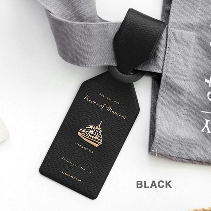 Black - Piece of moment travel luggage name tag