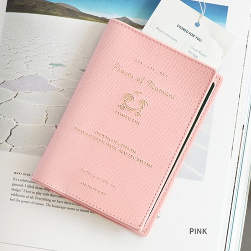 Pink - Piece of moment RFID blocking travel passport case