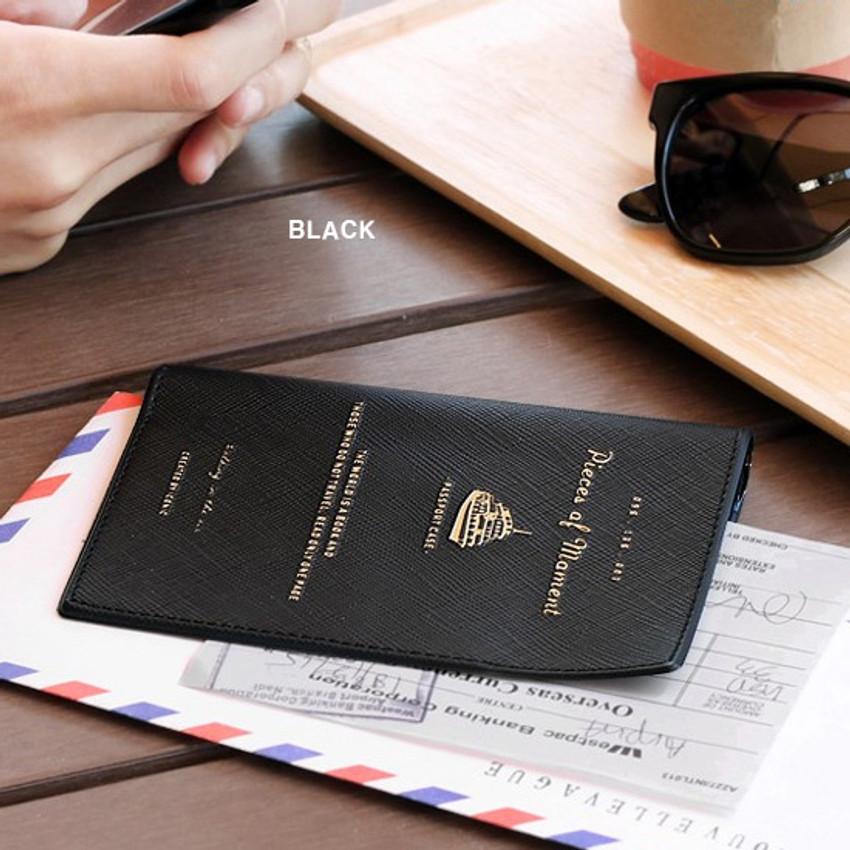 Black - Piece of moment RFID blocking travel passport case