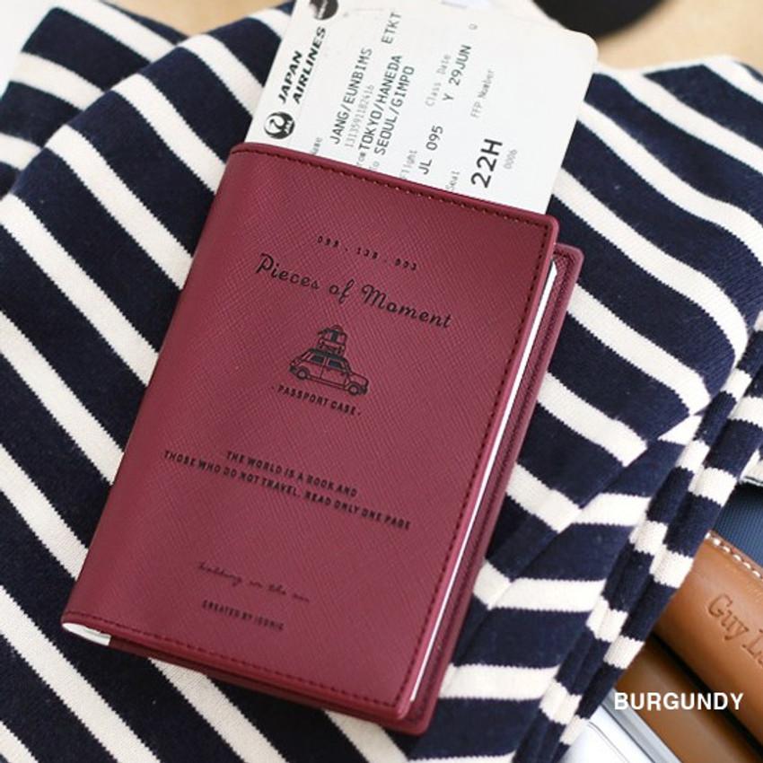 Burgundy - Piece of moment RFID blocking travel passport case