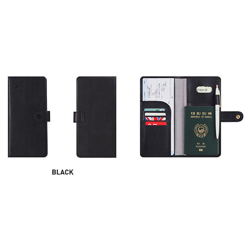 Black - Travel RFID blocking long passport case