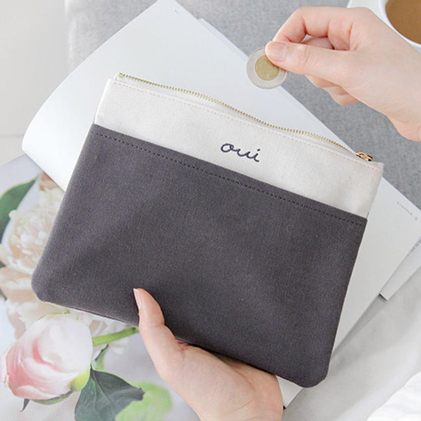 Charcoal - Around'D pocket zipper pouch