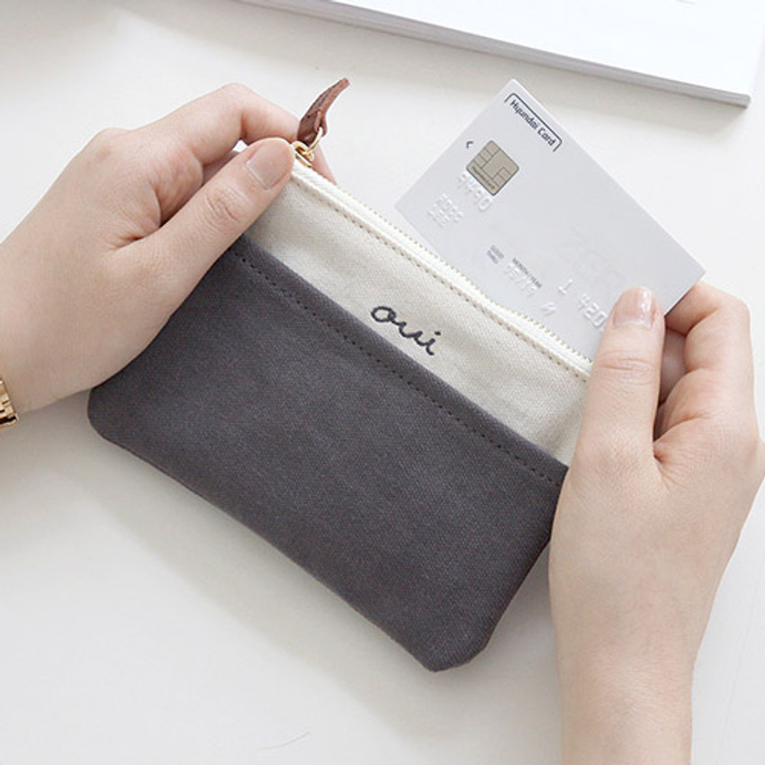 Charcoal - Around'D pocket zipper small pouch