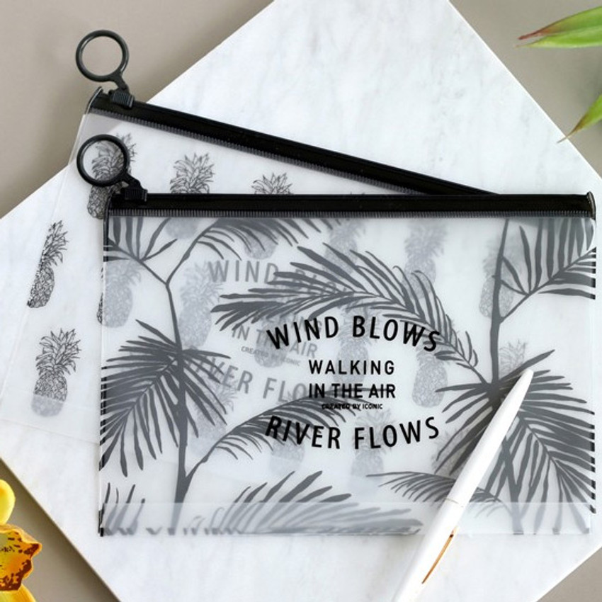 Wind blows clear zip lock medium pouch