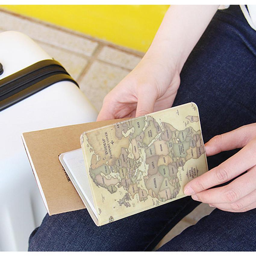 Antique - World map passport cover case ver.2
