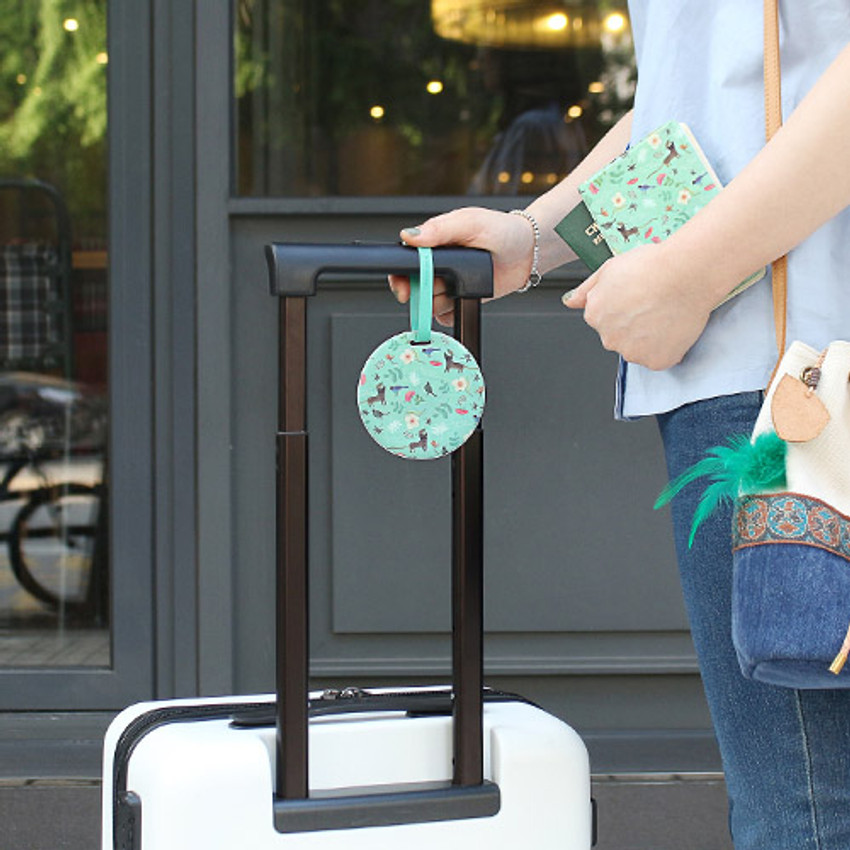 Mint Cat - Willow story pattern travel luggage name tag