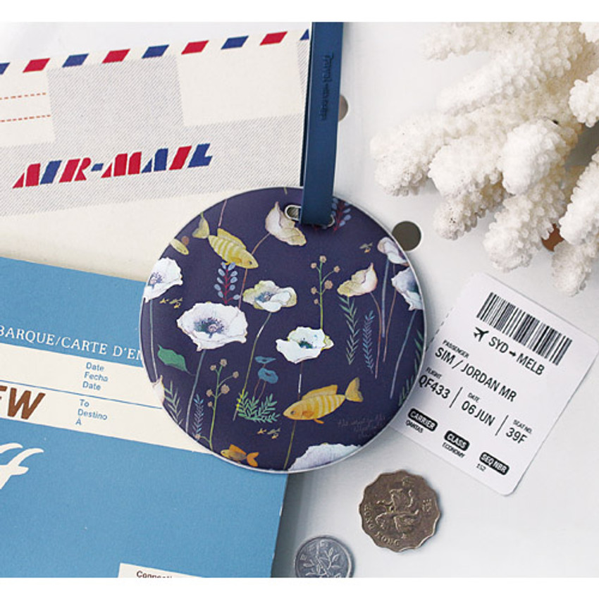 Navy - Willow story pattern travel luggage name tag