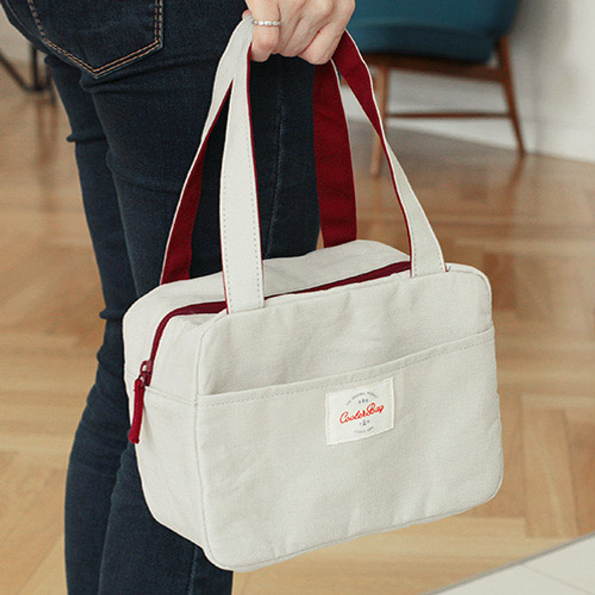 Beige - Insulated lunch cooler bag