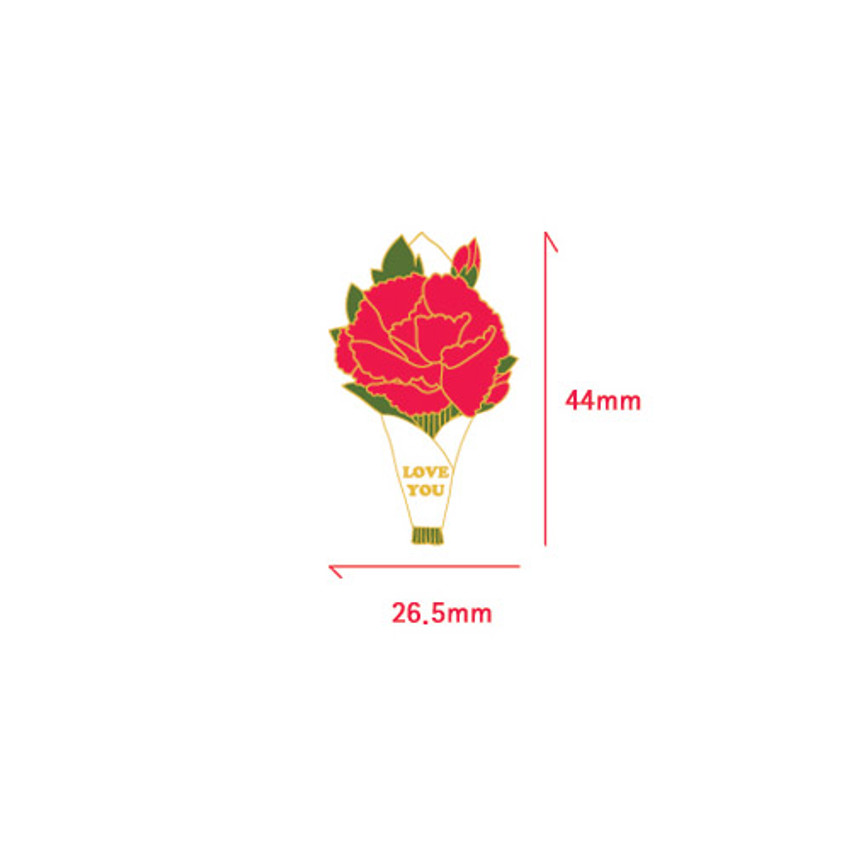 Size of Always thank you carnation badge