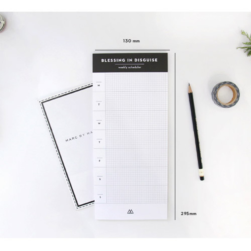 Size of Desk side undated weekly scheduler planner