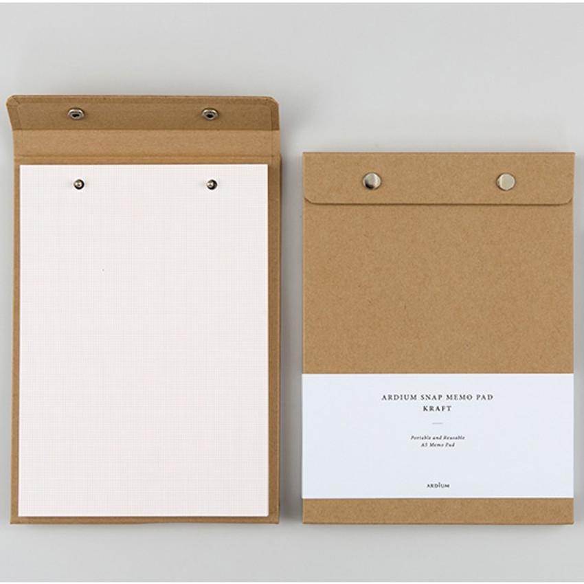 kraft snap A5 quadrille notepad