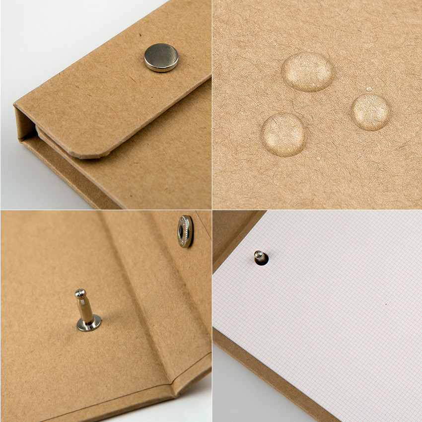 Detail of kraft snap A5 quadrille notepad