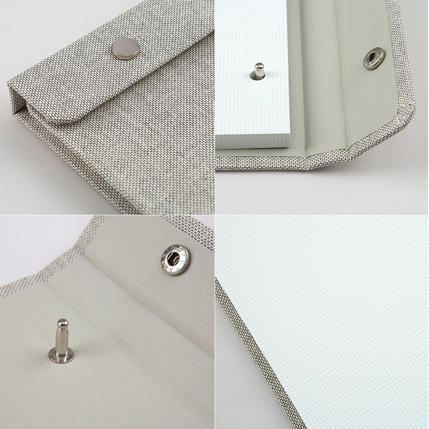 Detail of linen snap A5 quadrille notepad