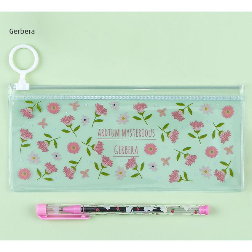 Gerbera - Pattern bling clear zip lock small pouch