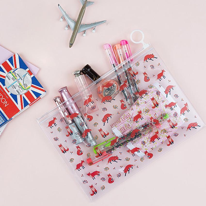 Red fox - Pattern bling clear zip lock medium pouch