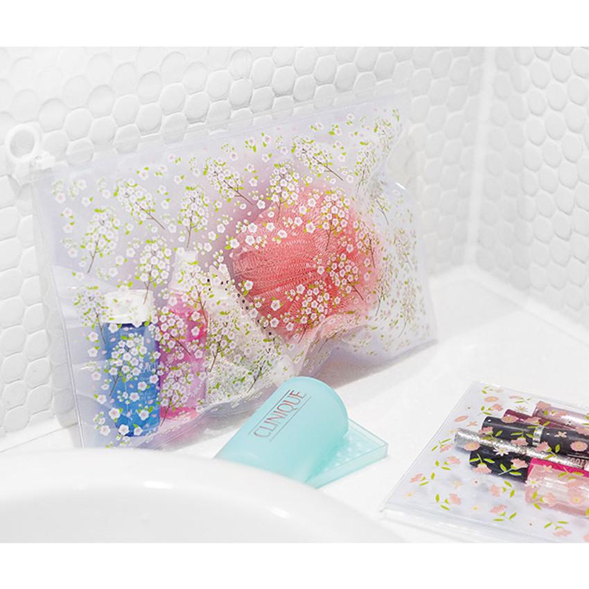 Cherry blossom - Pattern bling clear zip lock medium pouch