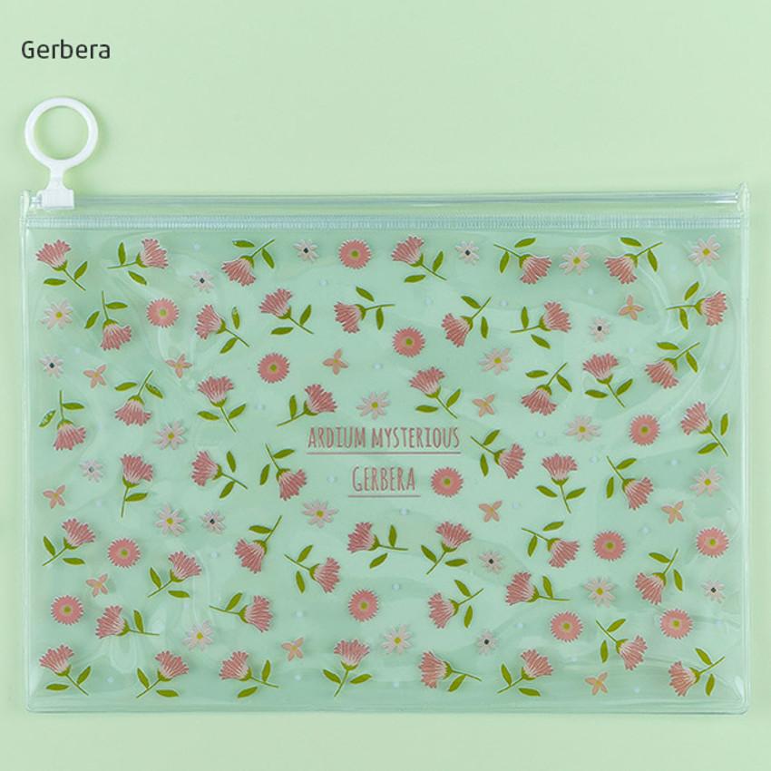 Gerbera - Pattern bling clear zip lock medium pouch