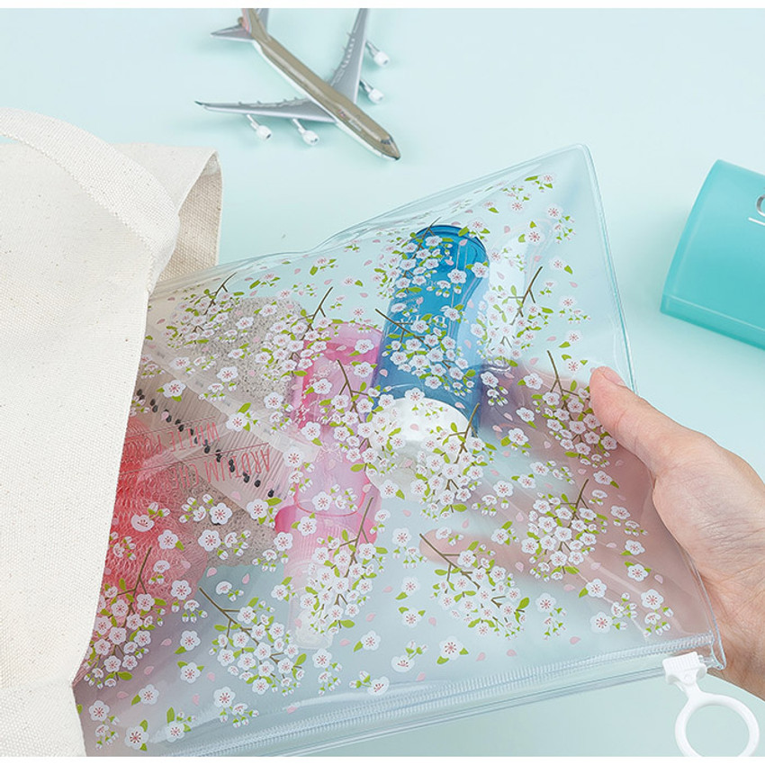 Cherry blossom - Pattern bling clear zip lock large pouch