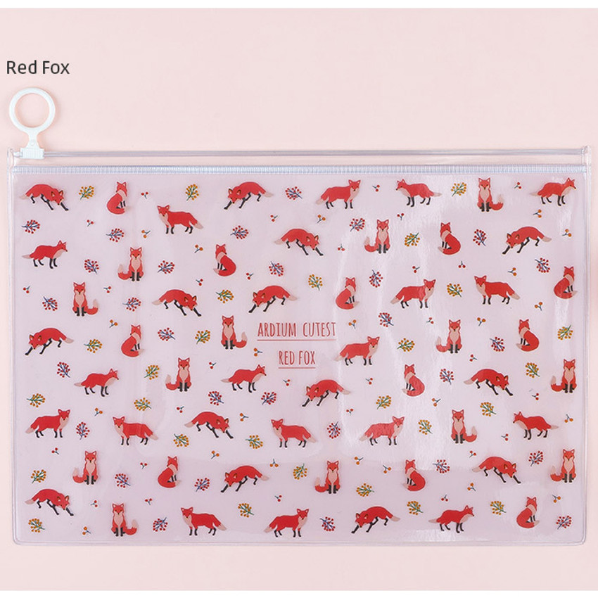 Red fox - Pattern bling clear zip lock large pouch