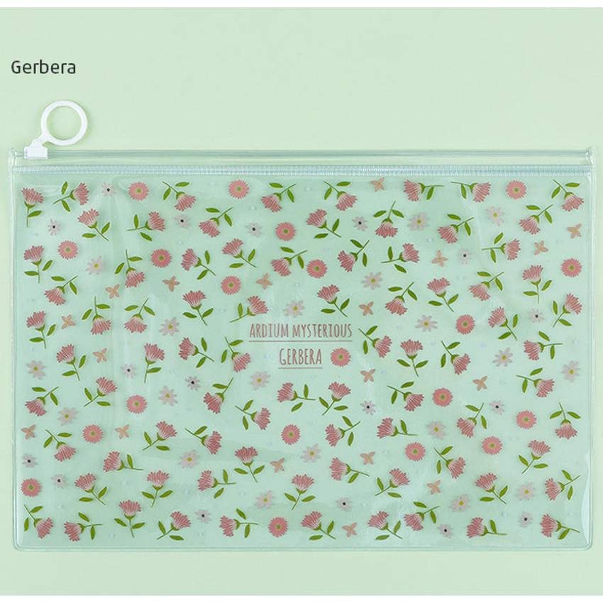 Gerbera - Pattern bling clear zip lock large pouch