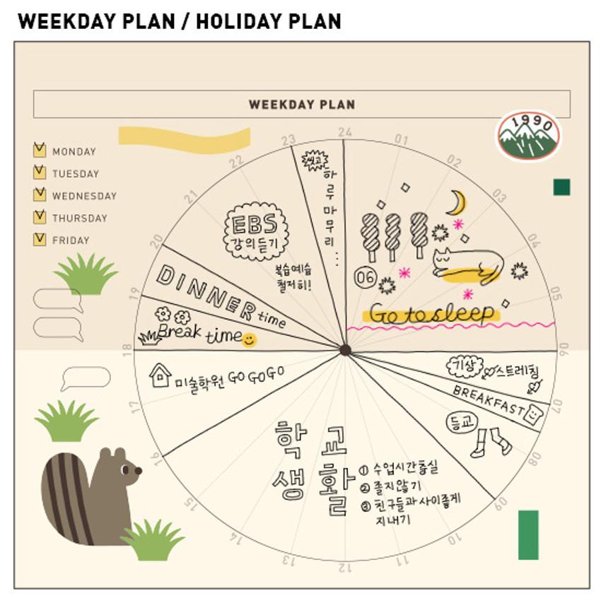 Weekday plan / Holiday plan